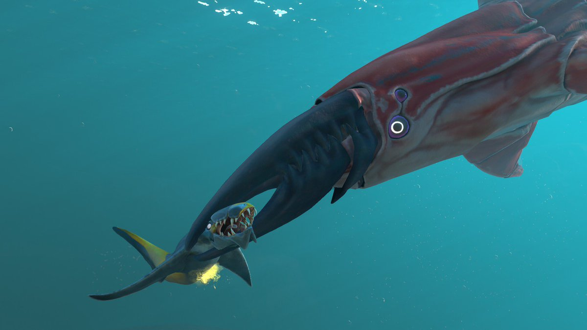 Amazing screenshot of a leviathan attacking a Bruteshark - staged by @natethefish in @Subnautica: Below Zero Experimental branch (creature on the right is still WIP, not yet present in game)
