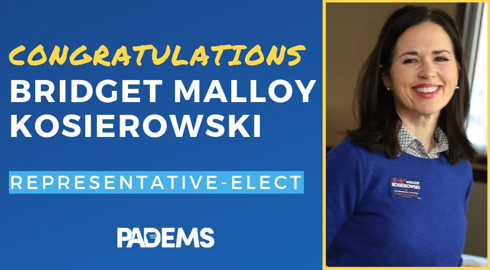 2/2 in 2019! Bridget Malloy Kosierowski wins in #HD114, and Democrats continue our winning ways in PA.