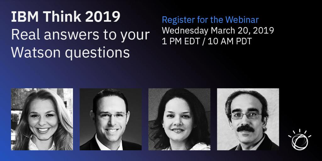 You have questions about the future of Watson, and we have answers. Recap our biggest announcements from #Think2019 and learn how to get started on your #AI journey alongside @IBMWatson experts in our webinar on March 20th. Register ► https://ibm.co/2F7xMz5
