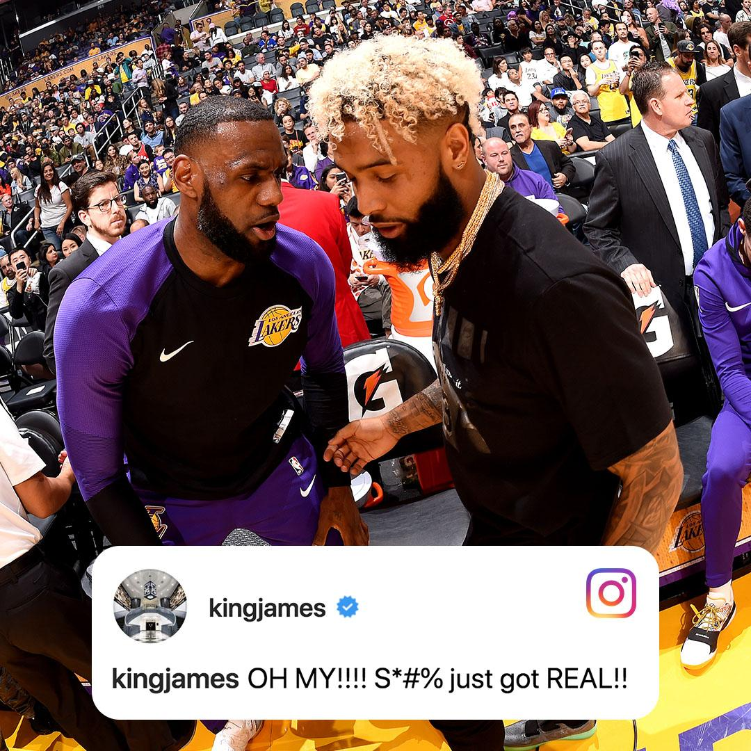 LeBron reacting to OBJ to the Browns after the Lakers game ended… ‼️ https://t.co/waR2NedumD