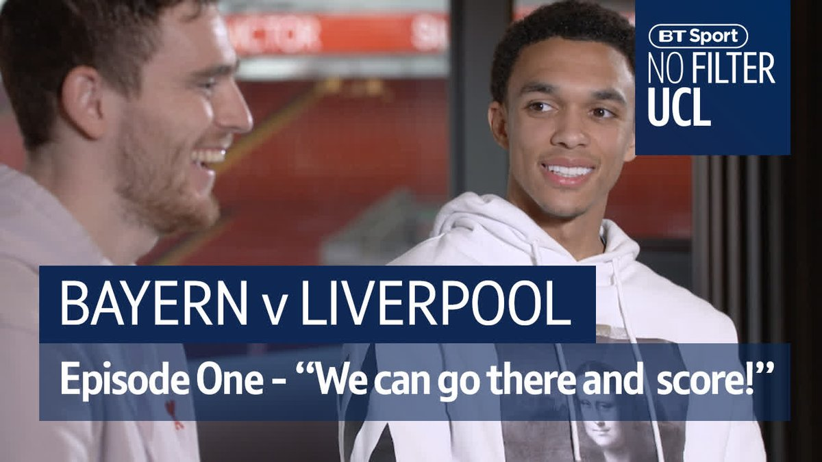 """""""We can go to Bayern and score goals!""""  Trent and Robertson ❤️ Neuer 🆚 Alisson  Defiant Klopp 👊  #NoFilterUCL heads to Munich ahead of another huge night for Liverpool in Europe..."""