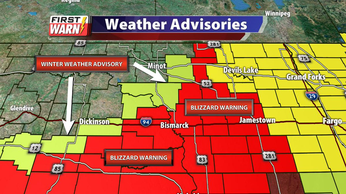 Blizzard Warning has been expanded further north. Winter Storm Watch has been replaced by Winter Weather Advisory. Travel at times will be difficult if not impossible. This will impact the AM commute Thursday &amp; for the east the PM commute. #FirstWarn<br>http://pic.twitter.com/Uft7MYmTLV