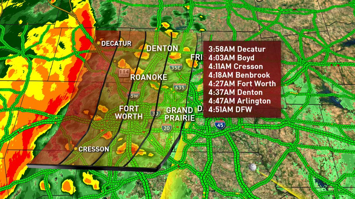 Strong line of storms moving east will impact morning traffic. Here are approximate arrival times. High winds and localized flooding on roads are the main threats. #DFWTraffic #NBCDFWWeather #dfwwx @nbcdfw @NBCDFWWeather