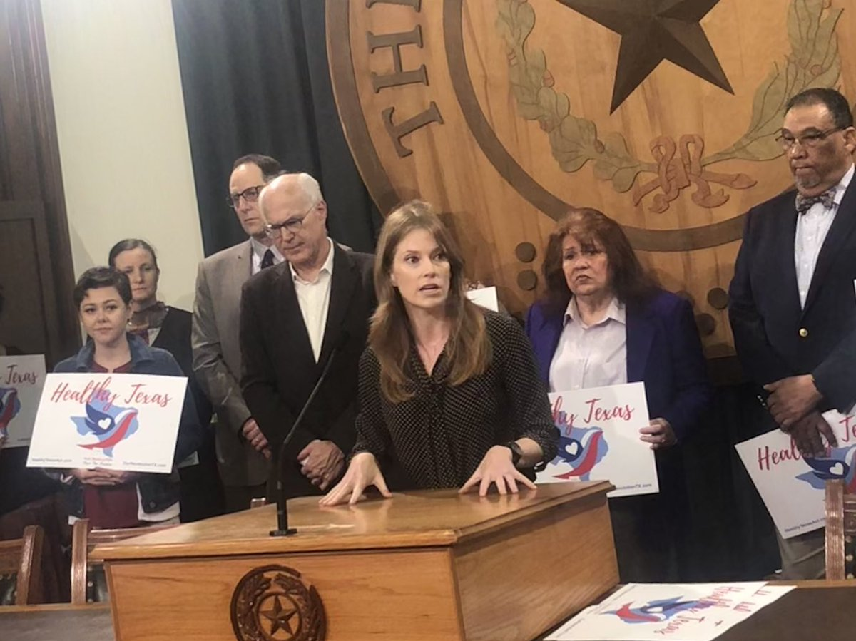 """""""I support the Healthy Texas Act because everyone wins. There will be lower cost of care, better outcomes, and the 4.5 million people in Texas without healthcare coverage - they get it."""" @JulieOliverTX #healthytexasact #txlege"""