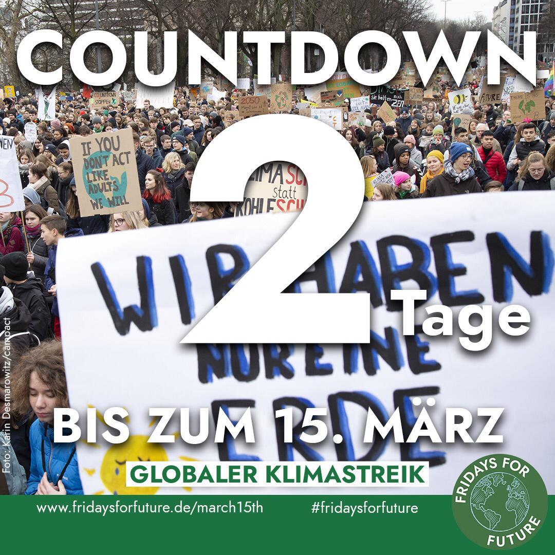 Noch 2 Tage bis zum globalen #FridaysForFuture #Klimastreik.  Alle Termine und weitere Infos gibt es unter http://Fridaysforfuture.de/march15th