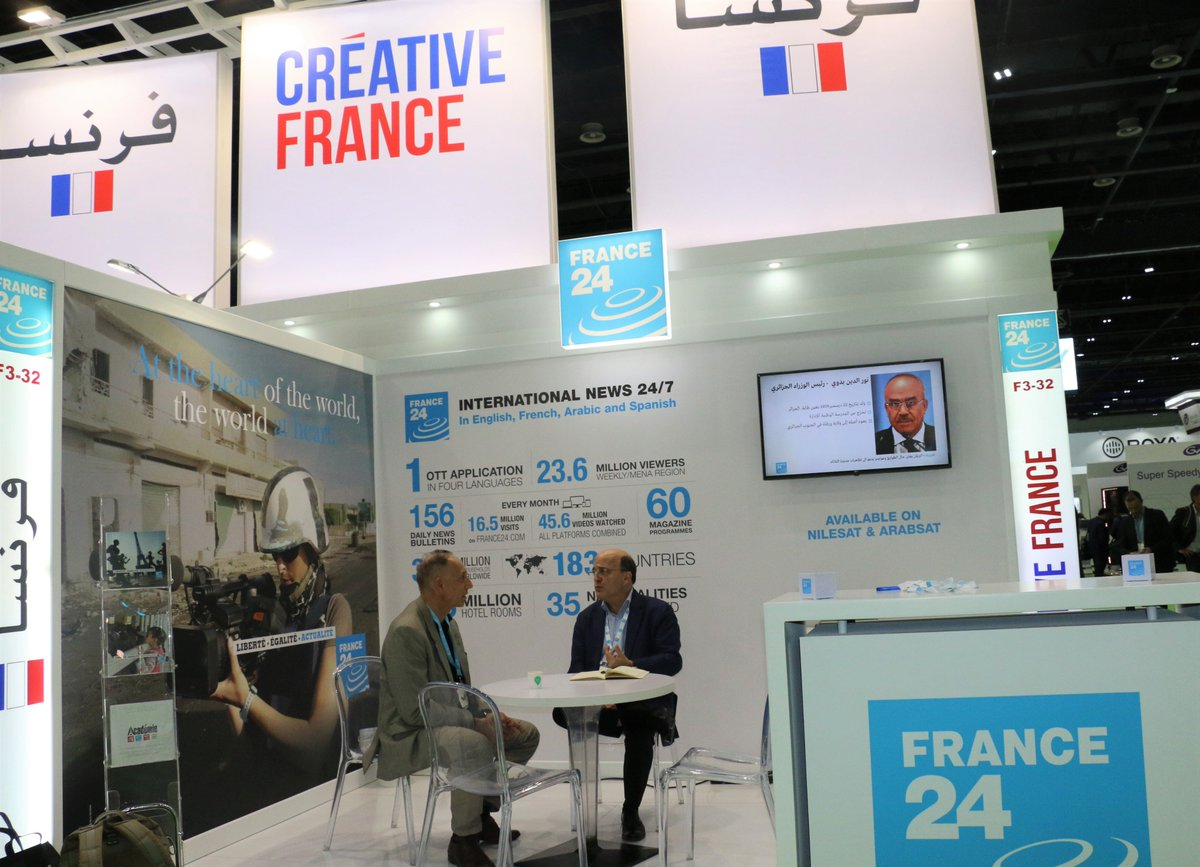 Meet @FRANCE24 an international news channel, broadcasting 24/7 to 355million homes around the world in #English #French #Arabic & #Spanish See them on stand F3-32. #CABSAT2019 #FranceAtCabsat #InfoBF