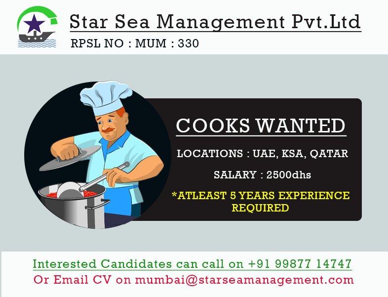 b8b47357d #cook #uae #ksa #qatar #mumbai #shippingjob #seafarer #wednesdays  #indiancooks #experienced #starsea pic.twitter.com/l6fPmPrIXy