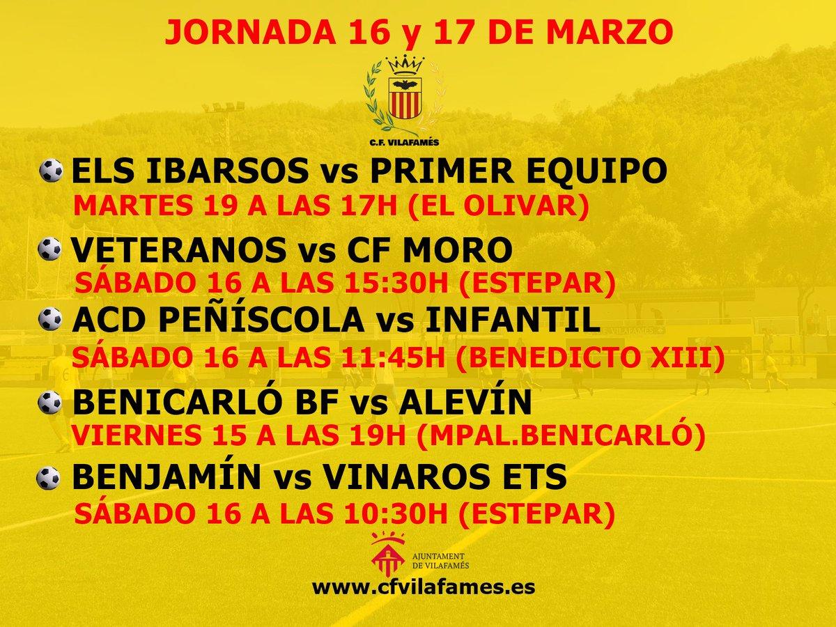 Agenda del CF Vilafamés correspondiente al fin de semana del 16 y 17 de marzo.  Estos son los horarios de la jornada.  #amuntvilafamés #cfvilafamés #ligacfv