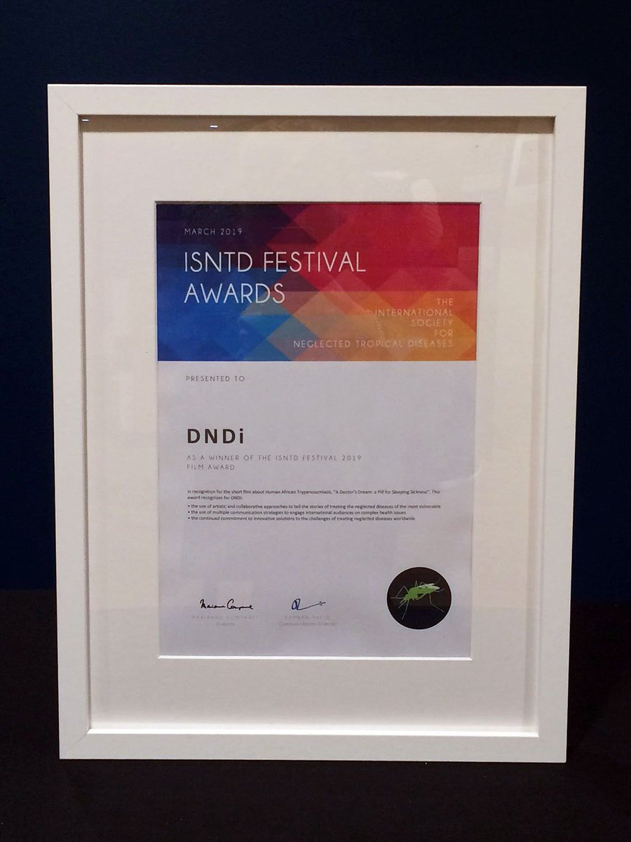 Thank you @ISNTD_Press for awarding our film about the development of a new drug for #sleepingsickness the prize at the #ISNTDFestival.  We couldn't have done it without the brilliant work of our filmmakers @scholars_dbn - thank you! https://www.dndi.org/fexifilm