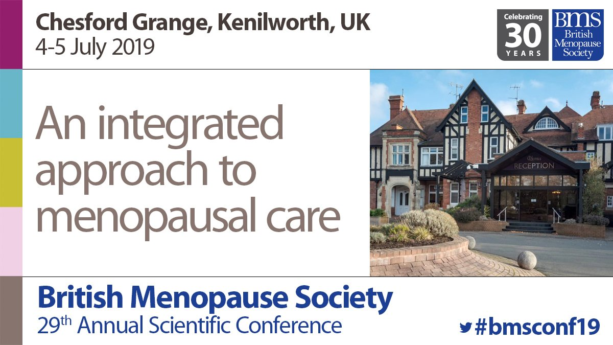 Just seven weeks away. British Menopause Society annual scientific conference at @ChesfordGrange, entitled 'An integrated approach to menopausal care'. Register now for two days oflectures, workshops and networking. More details and online registration https://bit.ly/2ucuWTr