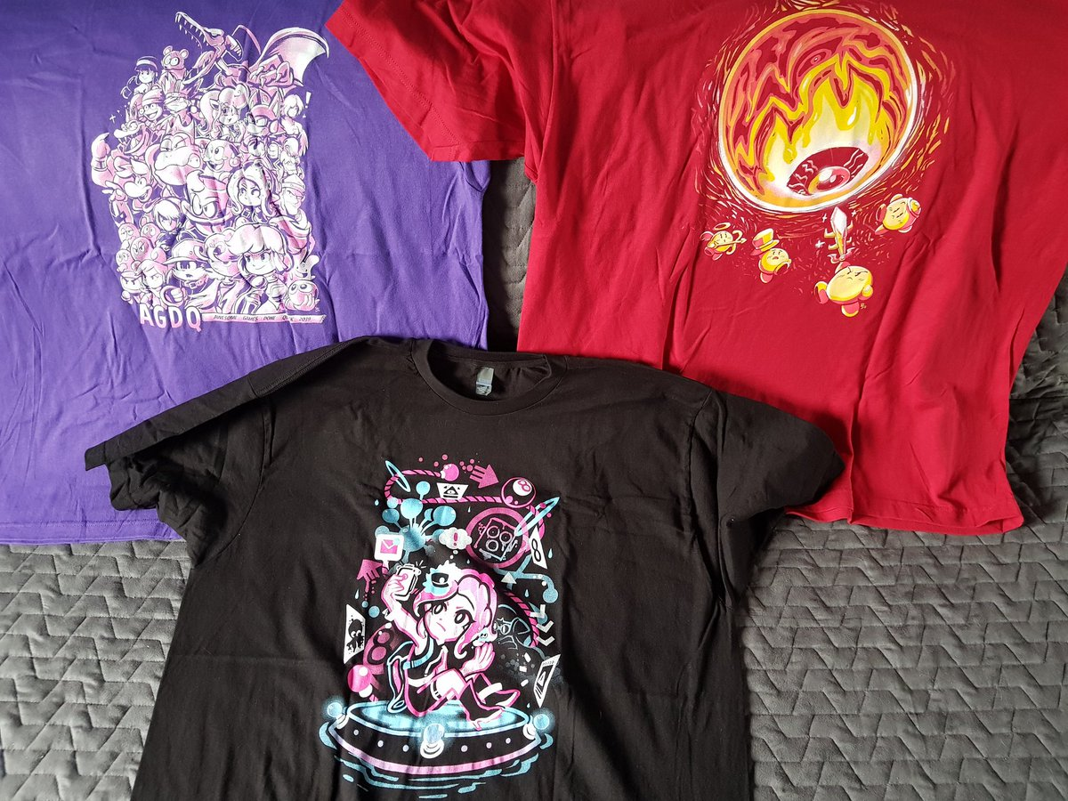 Yay, the tees from @theyetee I ordered during #AGDQ2019! They&#39;re pretty hecking cool~ <br>http://pic.twitter.com/hXyM2Dn3jT
