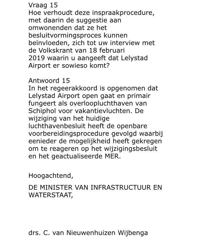 Afspraak is dat #LelystadAirport uitsluitend vluchten overneemt van #Schiphol en niet autonoom groeit. Minister @CvNieuwenhuizen houdt deur toch open, terwijl de Kamer mijn motie heeft aangenomen. De minister #schipholt lekker verder, alles voor groei van de #luchtvaart! #noway