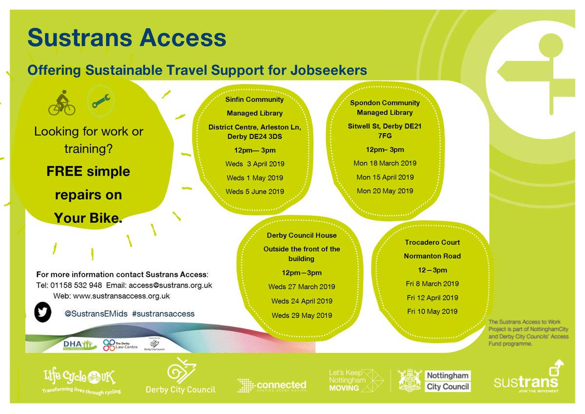 Dr bike dates for your diary @SustransEMids #sustransaccess #DrBike