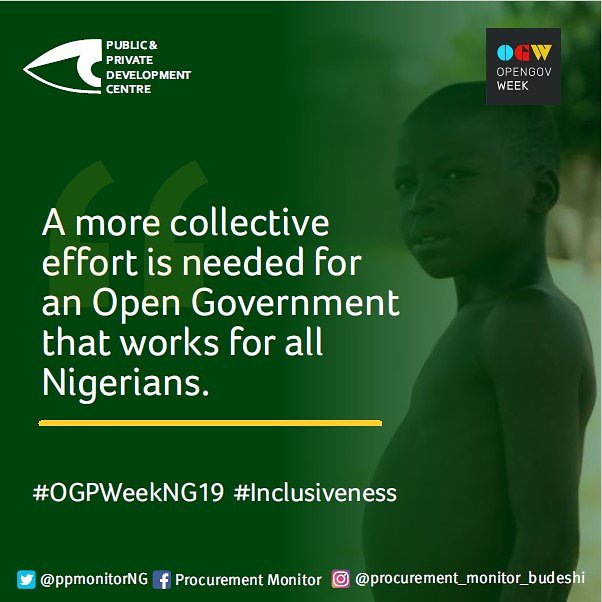 It's the #OGPWeekNG19 and the time to pull our efforts together to demand for an Open government that works for all Nigerians.  #inclusiveness #OpenIttofixit  #opengovweek2019