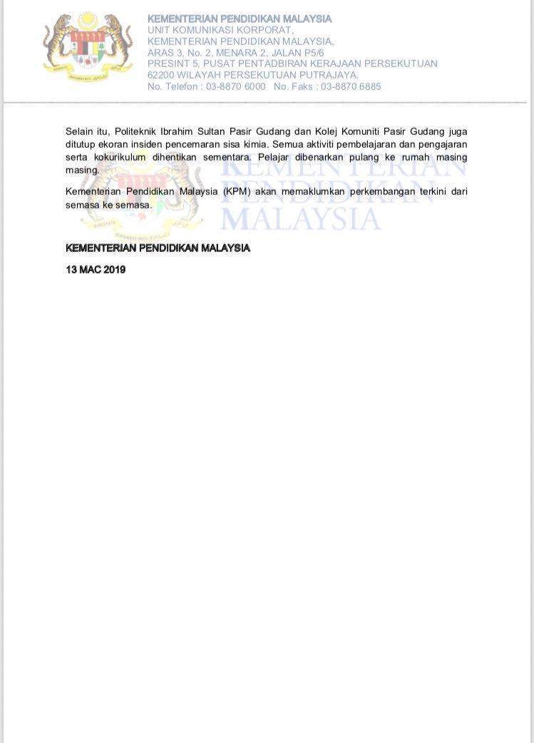 Astro Radio News A Twitter Terkini 43 Buah Sekolah Satu Politeknik Dan Satu Kolej Komuniti Di Pasir Gudang Johor Ditutup Ekoran Pencemaran Sisa Kimia Di Sungai Kim Kim Https T Co Izg3goa93f
