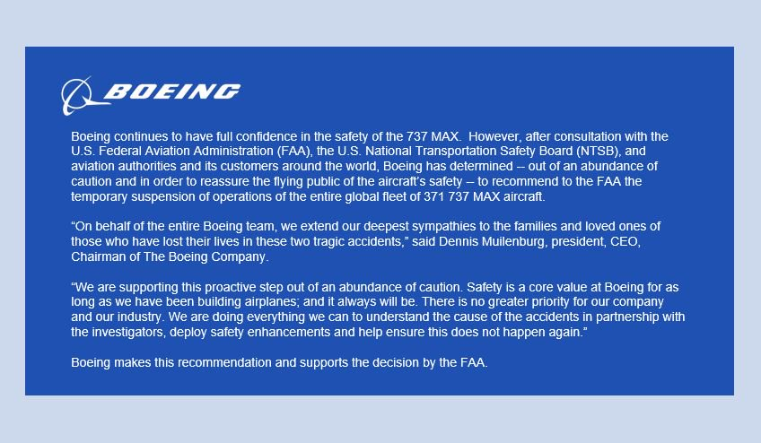In Consultation with the FAA, NTSB and its Customers, Boeing Supports Action to Temporarily Ground 737 MAX Operations: https://boeing.mediaroom.com/news-releases-statements?item=130404…