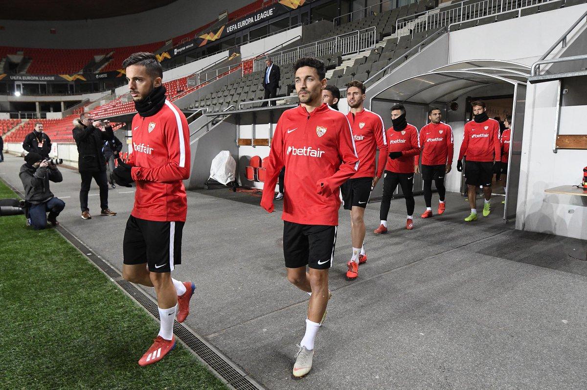 El Sevilla sale a entrenar al Eden Arena (Foto: SFC).