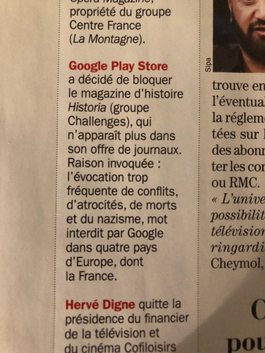 on a atteint le degré zéro dans @Challenges on apprend que @GooglePlay supprime de son store un magazine d'histoire @historiamag parce qu'il parle d'histoire 🤔