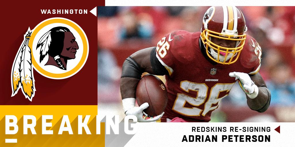 Redskins re-signing RB Adrian Peterson to two-year, $8M deal. (via @RapSheet + @MikeGarafolo) https://t.co/tKdJ20OXGM