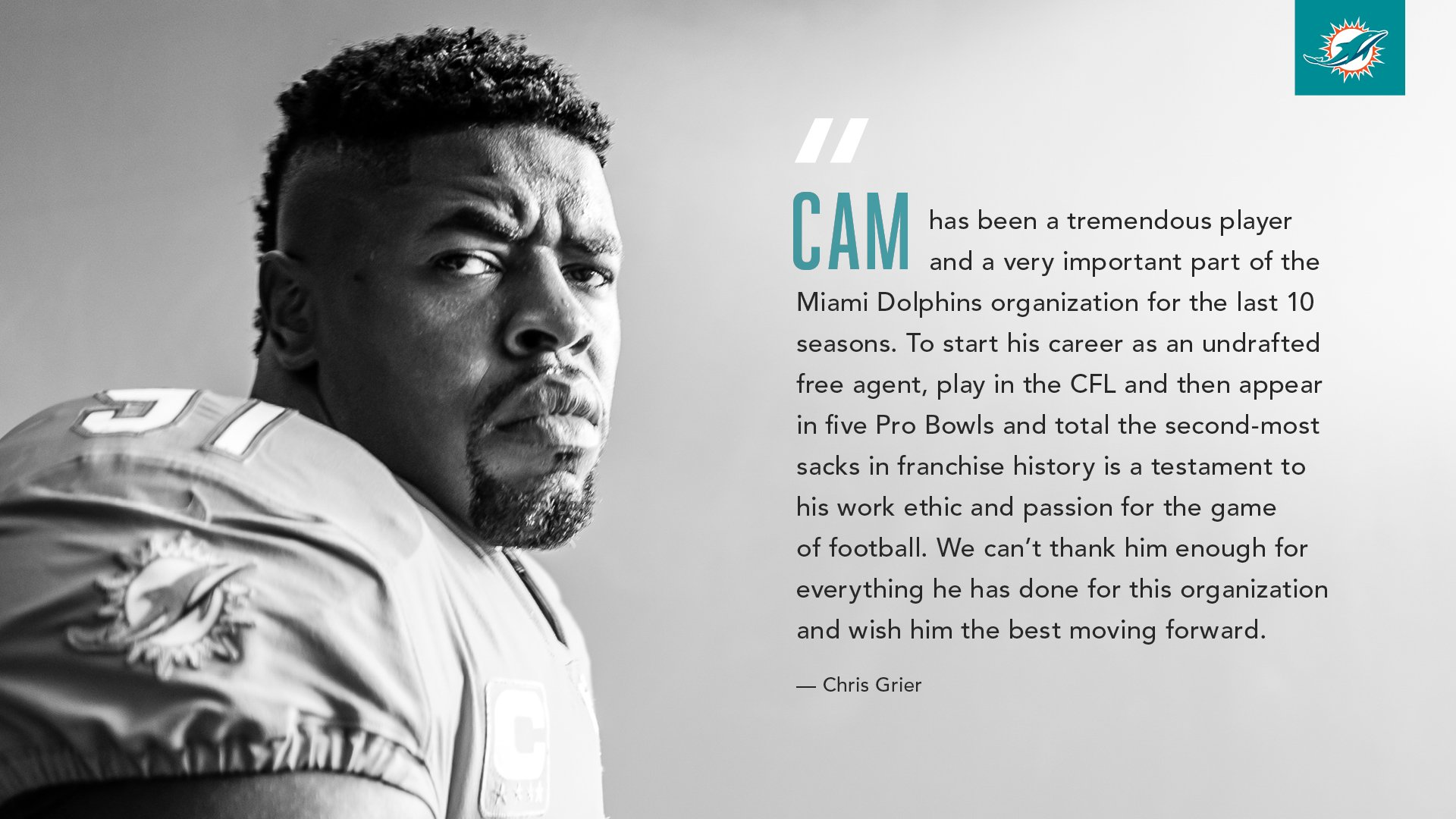 GM Chris Grier on Cam Wake.  Thank you #91. https://t.co/Eq68BABFqE