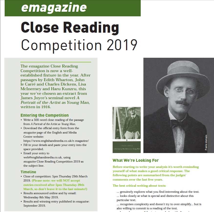 Two and a half weeks to go till emagazine Close Reading Competition closes. Entries are coming in thick & fast! Please let YOUR students know about it and encourage them to take part. It's their own authentic, individual responses that we want to hear! https://www.englishandmedia.co.uk/competitions/emagazine-close-reading-competition-2019/…