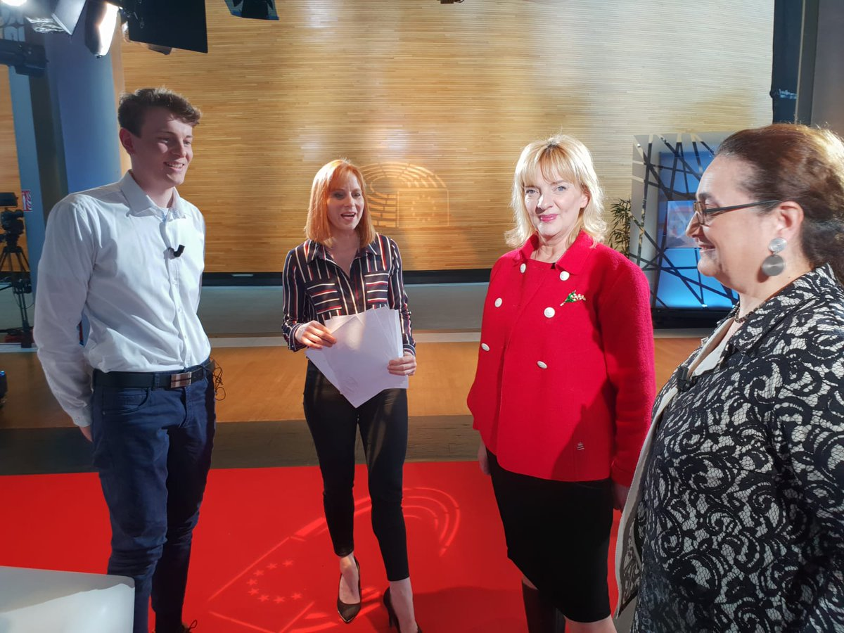 Going to be on France 24 with @ACatInParis, debating the future of the Erasmus programme.  Pleasure to meet Laura Coudret Haut, director of the Erasmus agency and Patrick Kress, a student in hotel and catering and who had a great time in Ireland!