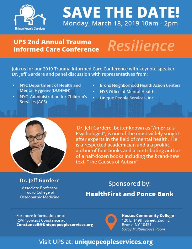 I am attending!   Join me for this can't miss half day conference in the Bronx, hosted by @_UniquePeople, sponsored by @HealthfirstNY & @PonceBank.  The day will feature a keynote by @DrJeffGardere and panel discussion with updates about #Not62 @nycHealthy https://www.eventbrite.com/e/copy-of-resilience-ups-2nd-annual-trauma-informed-care-conference-tickets-55933882749?ref=estw …