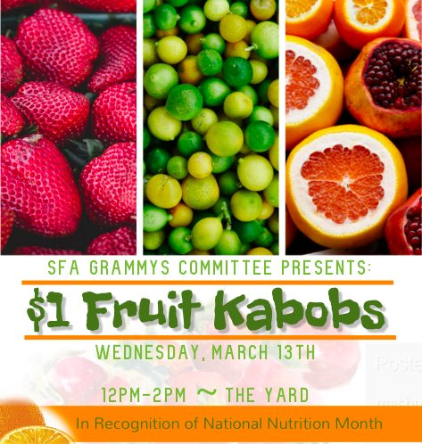 The rain isn't stopping ANYTHING! Meet us in the SC to get your $1 Fruit Kabob #SFAGrammys19 #NationalNutritionMonth <br>http://pic.twitter.com/D9lbxkQW0v