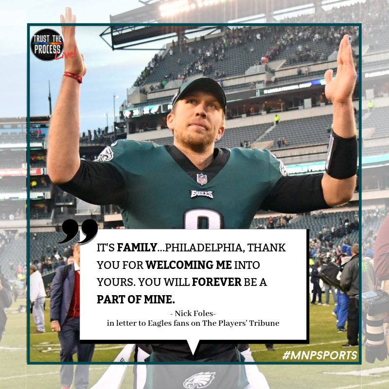 Nick Foles sends his gratitude to the great fans of Philadelphia 🤝
