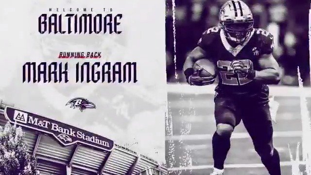 We have agreed to terms with RB Mark Ingram.  Welcome to Baltimore, @MarkIngram22 ❗️❗️  ��: https://t.co/oTIcHKXFaL https://t.co/Iytzo40OVM