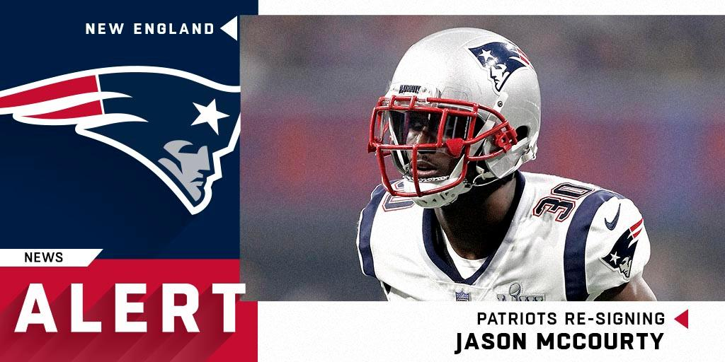 CB Jason McCourty (@McCourtyTwins) will return to the @Patriots on a two-year deal.  (via @MikeGarafolo) https://t.co/cMD6dm5UlX
