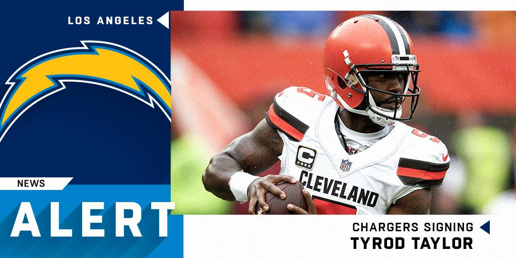 The @Chargers have agreed to terms with QB @TyrodTaylor on a two-year deal. (via @RapSheet) https://t.co/FQMJZQHaiP