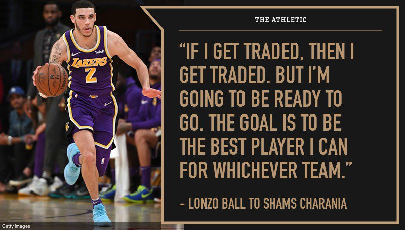 Lonzo Ball talked trade speculation with #NBA Insider @ShamsCharania  Will Ball start next season with the Lakers?  🔗https://theathletic.com/866329
