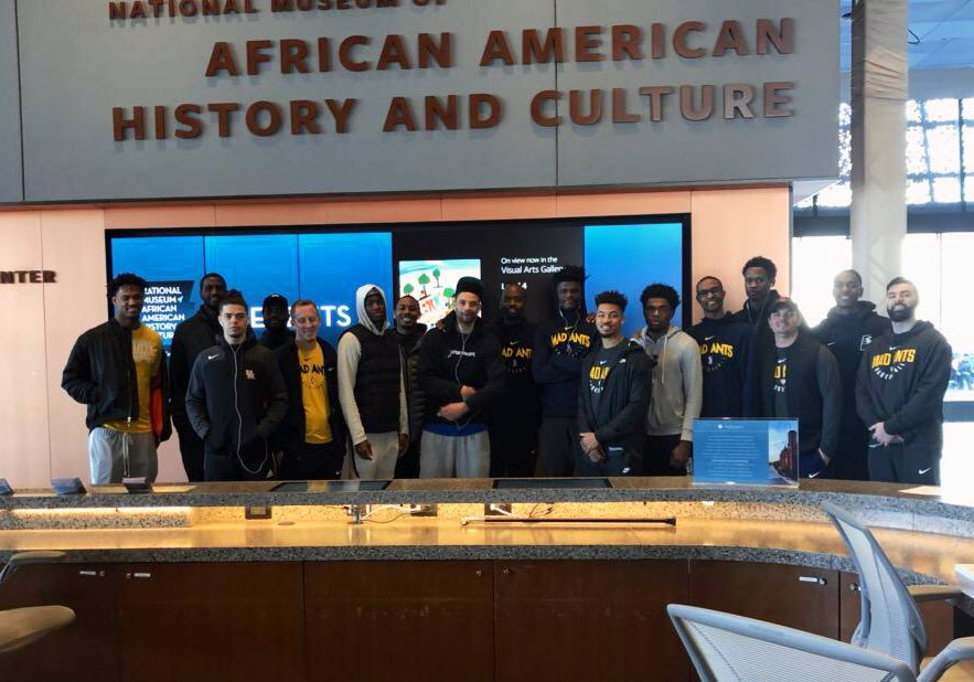 The team stopped at the National Museum of African American History and Culture while out in DC today! #MadAboutBlue #NBACares