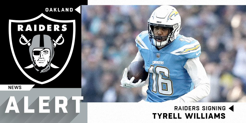 .@Raiders expected to sign former Chargers WR @TyrellWilliams_. (via @RapSheet) https://t.co/AvZXAAU50K