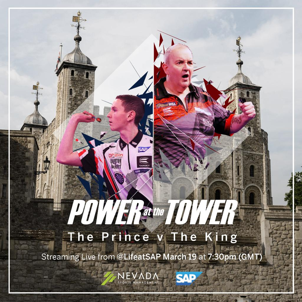 """We're less than a week away from #PowerAtTheTower featuring @PhilTaylor vs. @LeightonBennet4. Be sure to click """"Get Reminder"""" in the linked post so you don't miss a minute of the action on Tuesday, March 19 @ 7:30 PM GMT >> http://sap.to/6017EXUh3"""