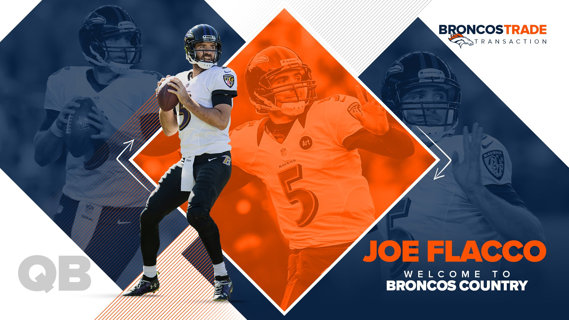 It's official: We've traded for QB @JoeFlacco.  Welcome to #BroncosCountry!  �� » https://t.co/vvKC8XuNxT https://t.co/aLVPQeid3E