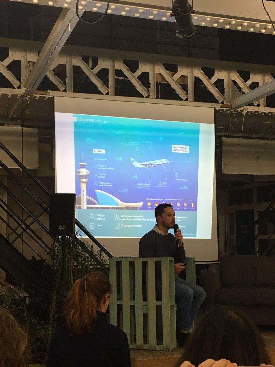 Pierre Naves de @conseilrecherch nous fait le résumé de l'étude menée sur l'#intrapreneuriat avec 6 groupes @hacktivateurs @Intra4Good @makesense