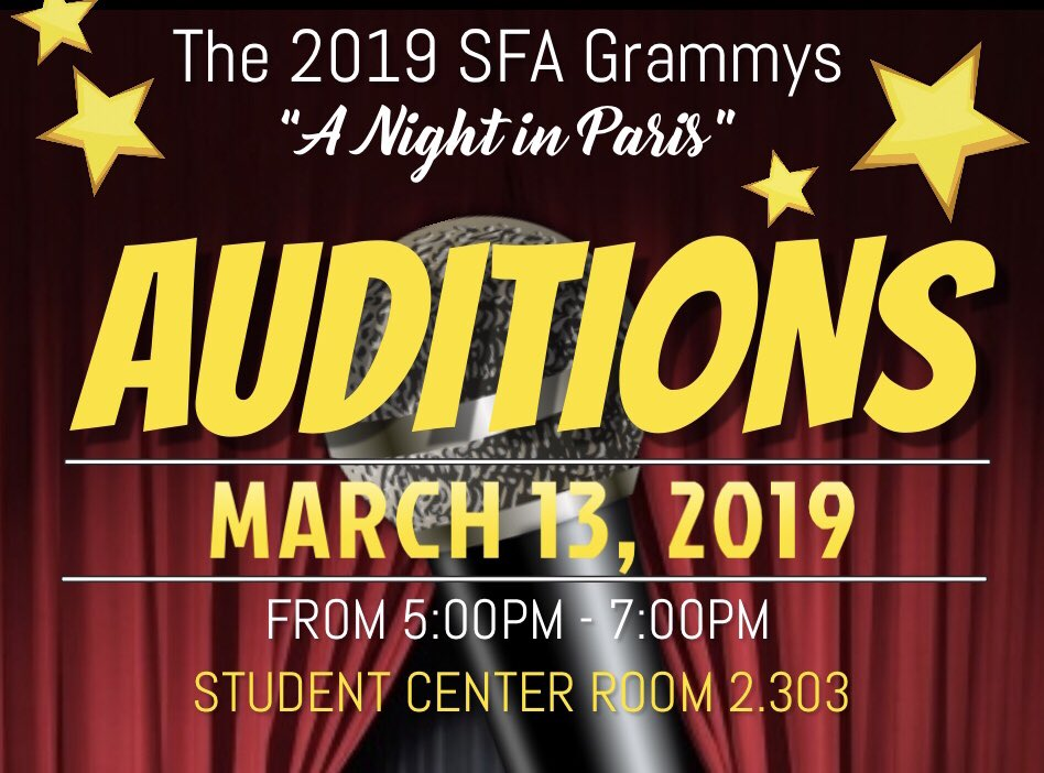 Thanks to Everyone that Came Out &amp; Bought a $1 Fruit Kabob &amp; A SPECIAL Thanks to Those Who Made Donations for the #SFAGrammys19! Don't forget, Auditions will be held TONIGHT from 5:00-7:00 in the SC Rm 2.303. See ya there! <br>http://pic.twitter.com/zJeirsj92p