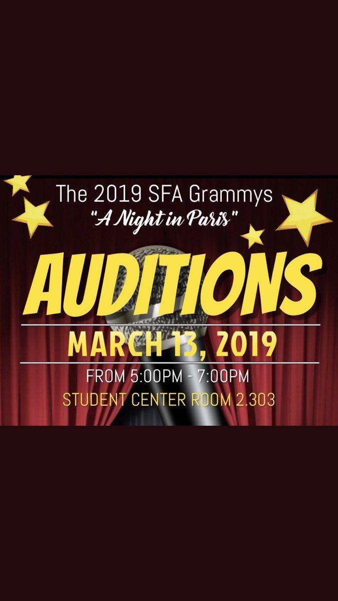 If ya got talent that you wanna show off come see us tonight and audition for the #SFAGrammys19 <br>http://pic.twitter.com/ZMztKss775