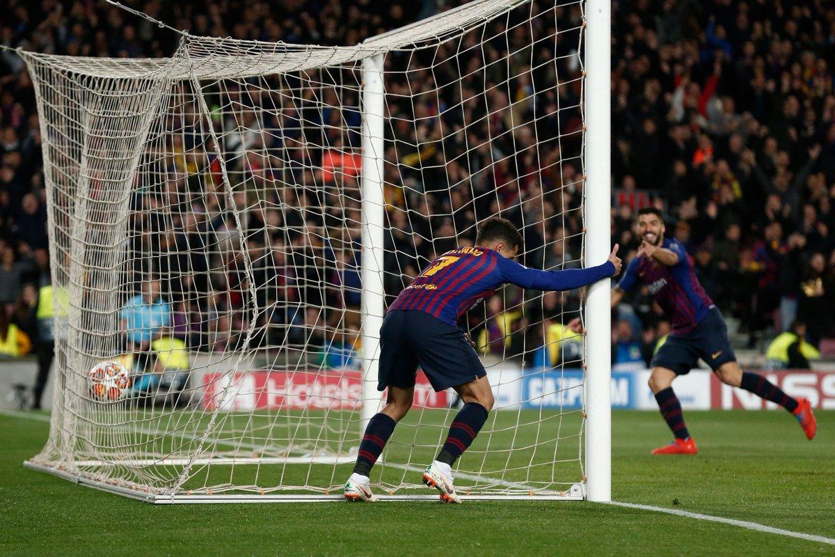 كوتينيو يسجل الهدف الثاني لبرشلونة في مرمى ليون