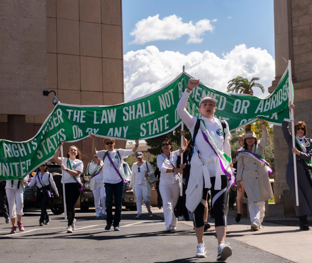 #ERAyesAZ supporters returned to the Capitol from a 38-mile march for equality, demanding the ERA bills to be heard in the House and the Senate. #azleg needs to be the 38th state! Keep watching for more coverage. #ERANOW #shepersisted