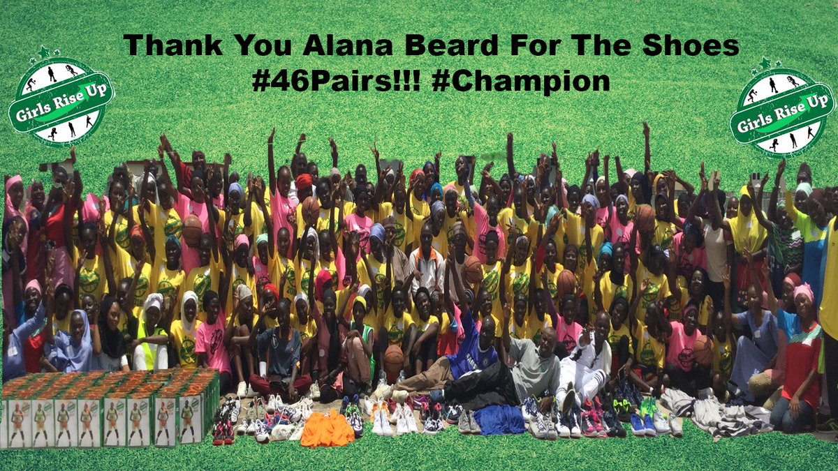 @Alanabeard20 is a champion on & off the court! Her 46 pairs of shoes donation is record breaking for #GirlsRiseUpShoeDrive! With appropriate shoes & apparel, the number of girls participation in sports (most especially 🏀) is on the rise in 🇳🇬. @WNBA players who will beat that?