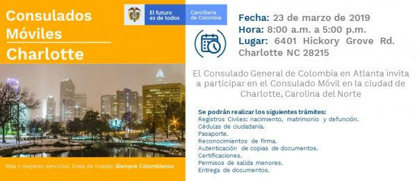 f5d6b0e570 Consulado de Colombia en Atlanta realizará una jornada de Consulado Móvil  en Charlotte