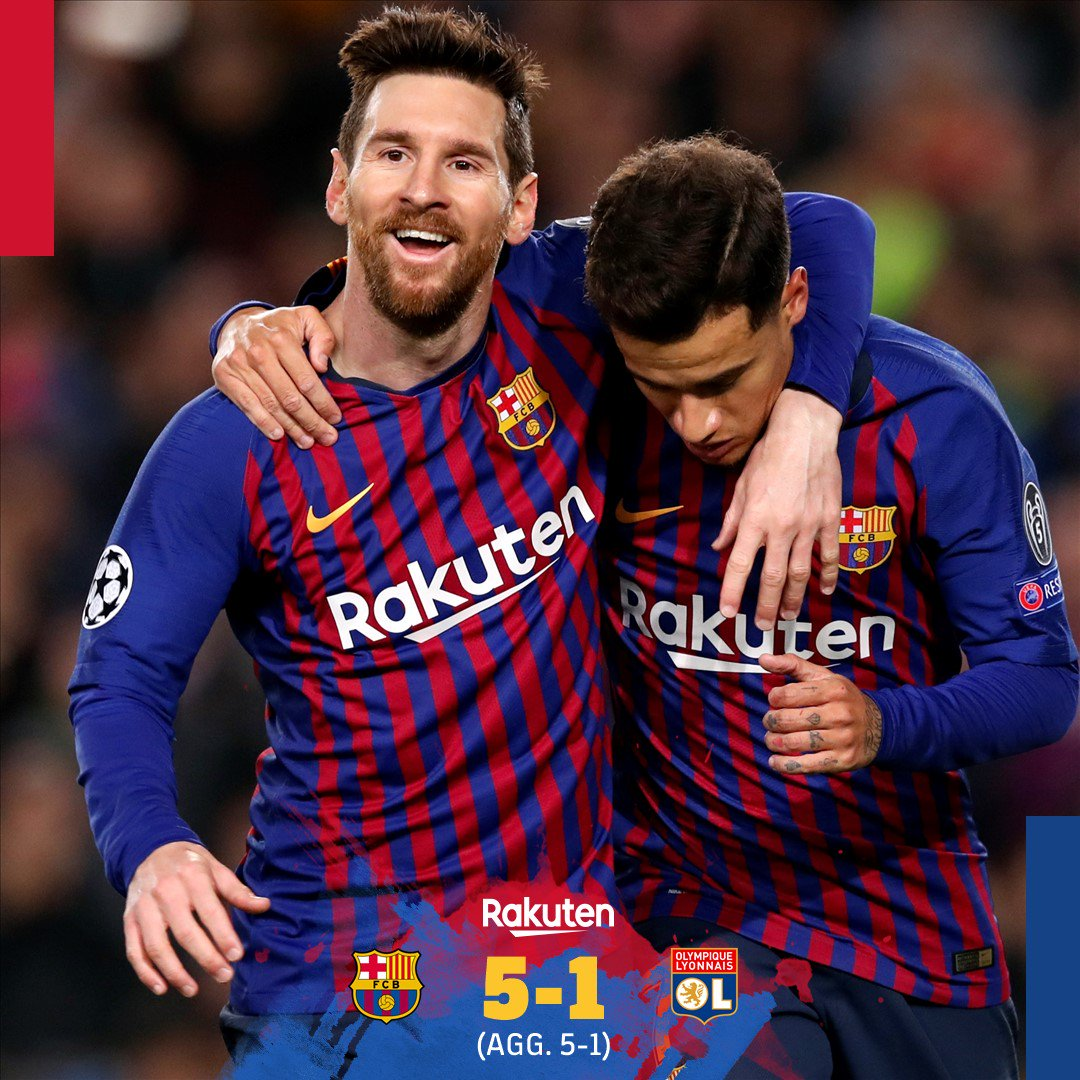 THERE'S THE WHISTLE! Barça blow the doors off Lyon in the second half to qualify for the @ChampionsLeague quarterfinals!   ⚽️ Messi (x2), Coutinho, Piqué and Dembélé / Tousart  ▶️ MATCH CENTER: http://ow.ly/LJST50n5z7Z    🔵🔴 #BarçaOL #ForçaBarça