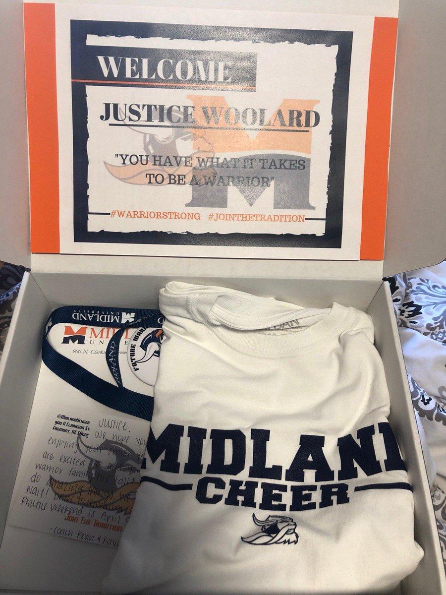 Congratulations @justice_woolard  on your acceptance to the cheer program @MidlandUCheer 🧡🖤