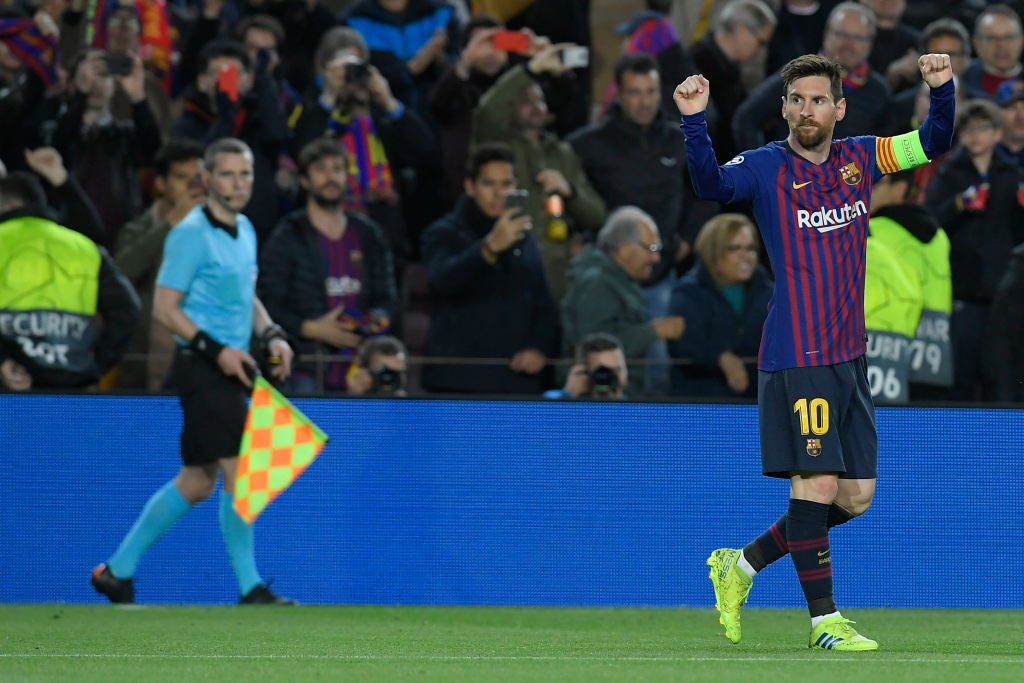 Lionel Messi is the first player in this season's #UCL to provide two goals and two assists in a single game.  His name up in lights again. 🐐