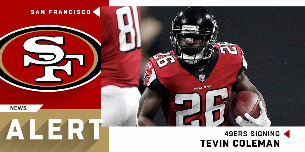 .@49ers signing RB Tevin Coleman to two-year deal worth up to $10 million. (via @RapSheet) https://t.co/0hRFohcIwp