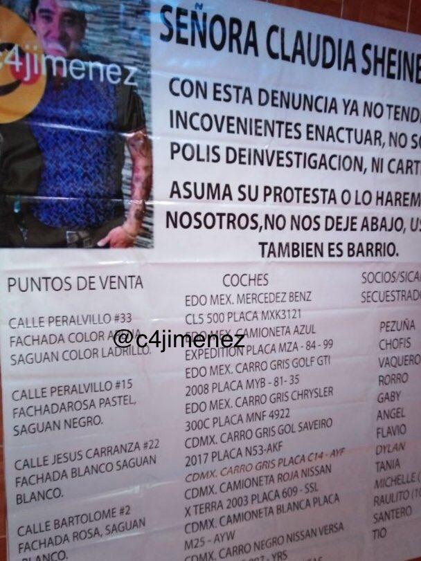 """CUELGAN NARCOMANTAS VS EL LUNARES en TEPITO… las dirigen a @Claudiashein """"No somos policías…asuma su protesta o lo haremos nosotros"""", le escriben a la JEFA de Gob Dan DIRECCIONES, AUTOS, PLACAS, apodos de gente de LUNARES… DESPOJAN inmuebles, venden drogas @PGJDF_CDMX LO BUSCA"""