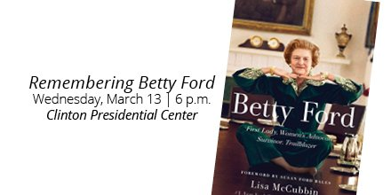 WATCH LIVE: Remembering Betty Ford, a conversation with Susan Ford Bales and @lisa_mccubbin. https://wjcf.co/2F2ebz2